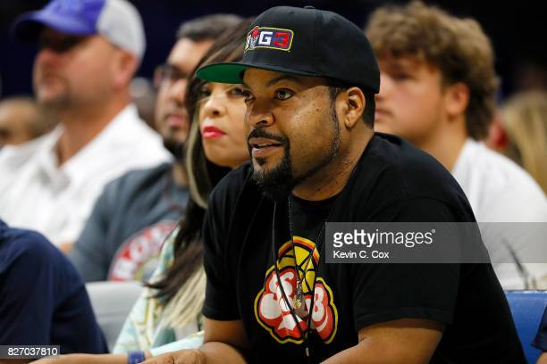 Ice Cube watches from the sidelines during week seven of the BIG3 three on three basketball league at Rupp Arena on August 6 2017 in Lexington...