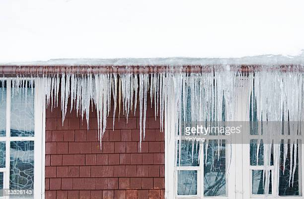 Ice Dams, Snow on Roof, Icicles Causing Winter House Damage