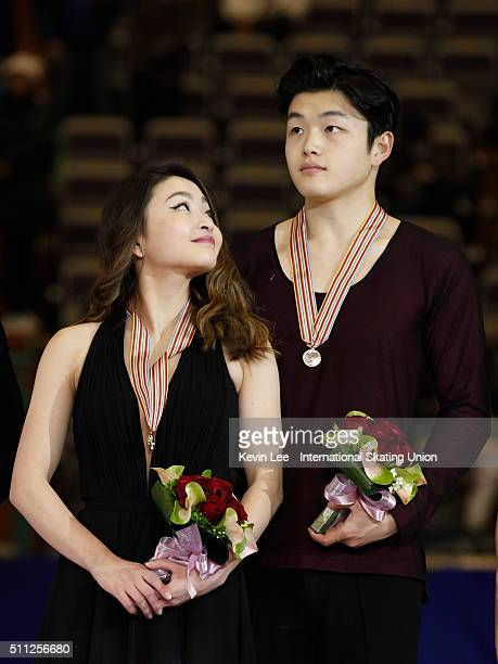 Ice Dance Champions Maia Shibutani and Alex Shibutani of United States stand on the podium after the Ice Dance Free Dance performance on day two of...