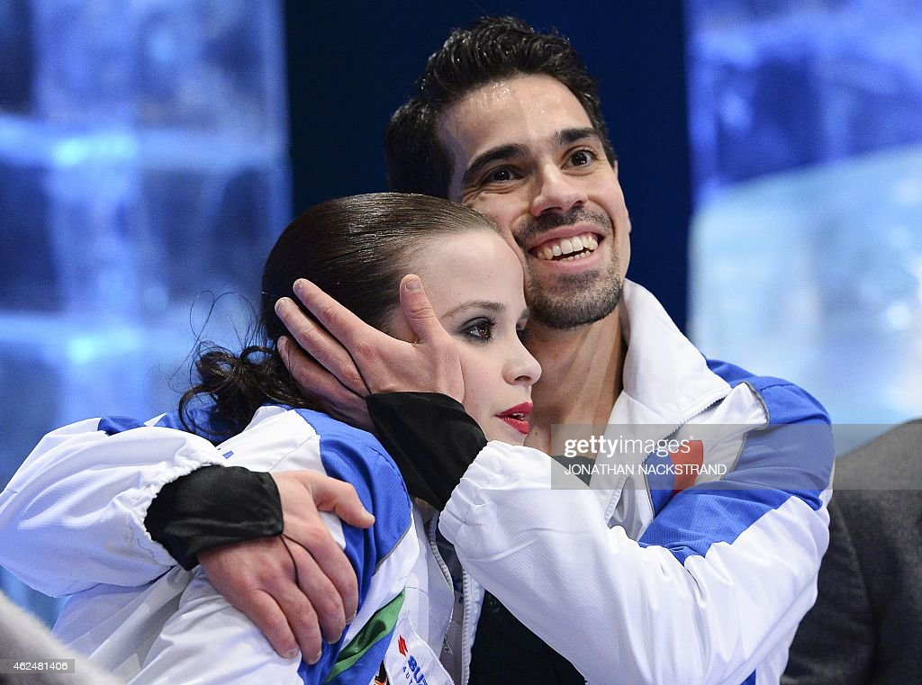 Ice dance pair Anna Cappellini and Luca Lanotte of Italy react after their free dance programme during the ISU European Figure Skating Championships...