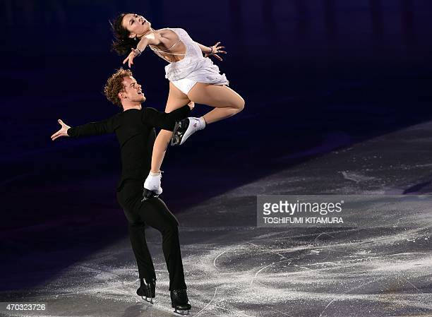 Ice Dance skaters Madison Chock and Evan Bates of the US perform during the final day exhibition event at the ISU World Team Trophy figure skating...