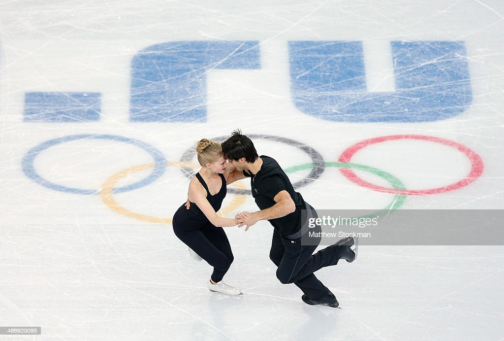 Ice dancers Kaitlyn Weaver (L) and Andrew Poje of Canada practice ahead of the Sochi 2014 Winter Olympics at the Iceberg Skating Palace on February 5, 2014 in Sochi, Russia.
