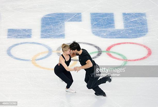 Ice dancers Kaitlyn Weaver and Andrew Poje of Canada practice ahead of the Sochi 2014 Winter Olympics at the Iceberg Skating Palace on February 5...