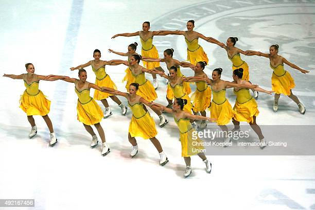 Ice dancers of the Croation Federation dance during the medal ceremony of the ISU Junior Grand Prix at Dom Sportova on October 10 2015 in Zagreb...