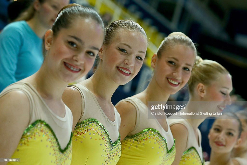 Ice dancers of the Croation Federation pose during the medal ceremony of the ISU Junior Grand Prix at Dom Sportova on October 10 2015 in Zagreb...