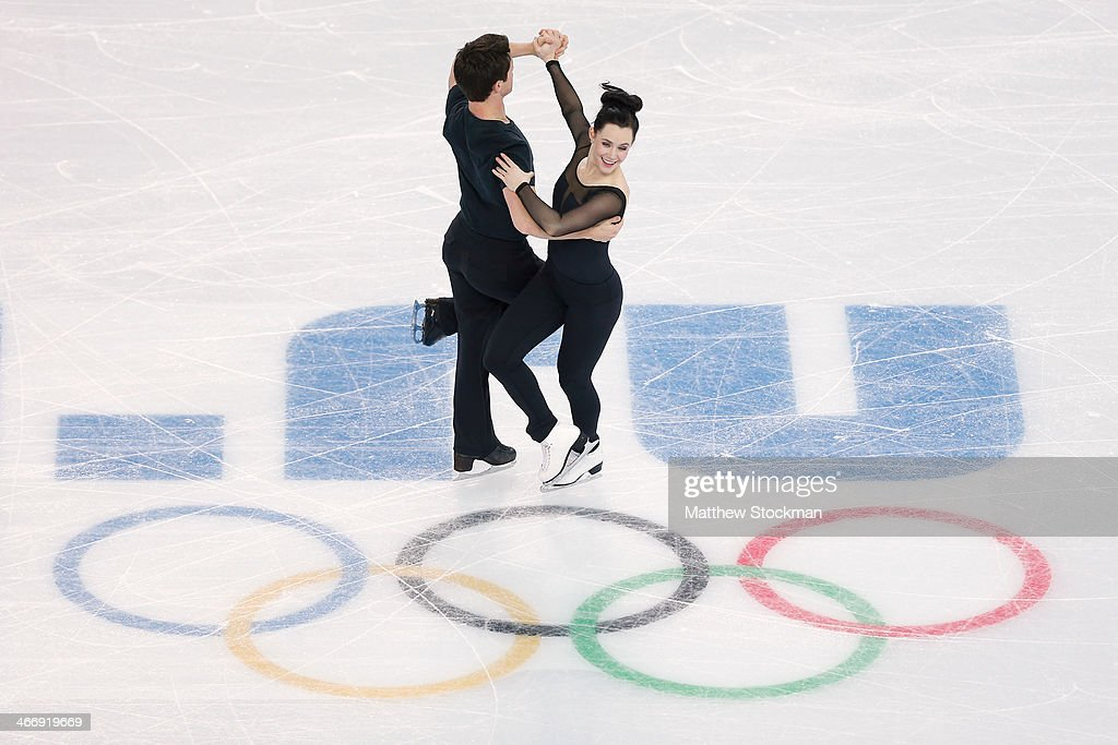 Ice dancers Tessa Virtue (R) and Scott Moir of Canada practice ahead of the Sochi 2014 Winter Olympics at the Iceberg Skating Palace on February 5, 2014 in Sochi, Russia.
