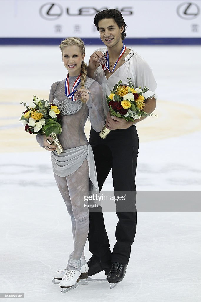 Ice dancing bronze medalists Kaitlyn Weaver and Andrew Poje of Canada pose for photo during the medal ceremony of Cup of China ISU Grand Prix of Figure Skating 2012 at the Oriental Sports Center on November 3, 2012 in Shanghai, China.