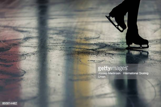Ice detail in the Ice Dance Free Dance during the Nebelhorn Trophy 2017 at Eissportzentrum on September 30 2017 in Oberstdorf Germany