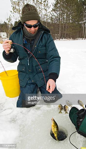 Ice Fisherman Catches Perch