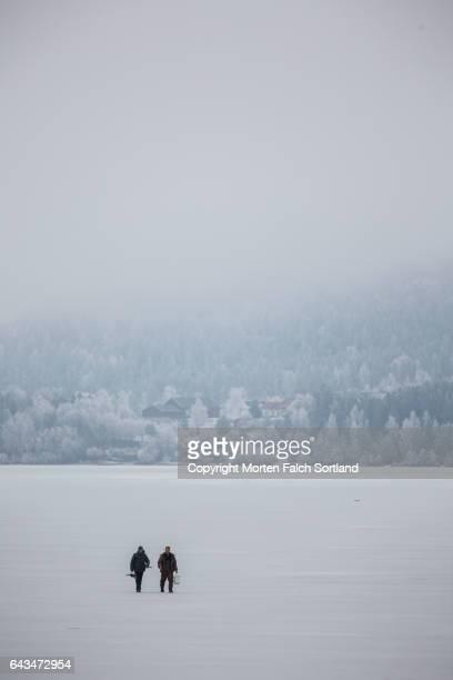 Ice fishermen, Buskerud county, Norway