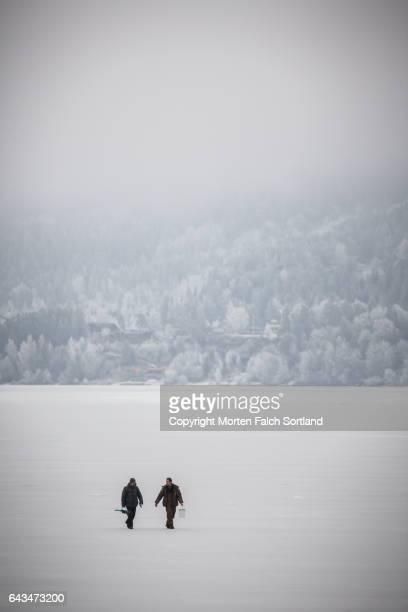 Ice fishing, Buskerud county, Norway