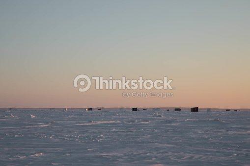 Ice Fishing Lake Of The Woods Minnesota At Dawn Stock Photo