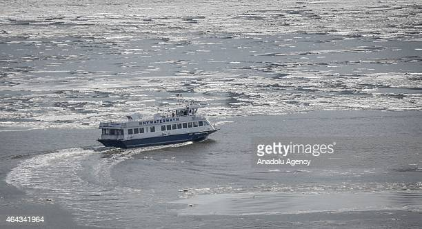 Ice floes are seen along the Hudson River in Manhattan New York City due to the record low temperatures on February 24 2015