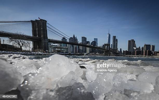 Ice floes are seen in the East River near the Brooklyn Bridge in New York City due to the record low temperatures on February 24 2015