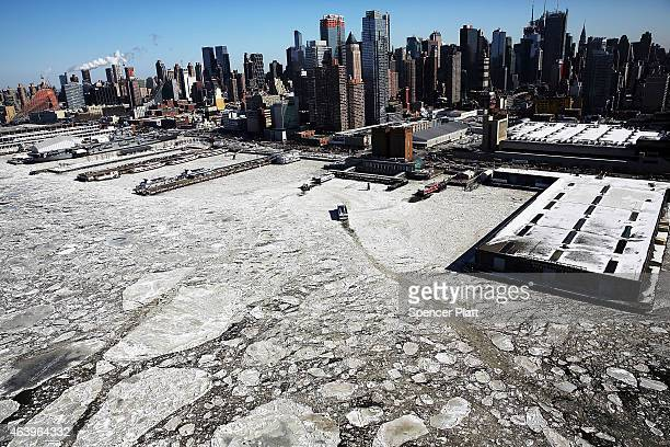 Ice floes are viewed along the Hudson River in Manhattan on a frigidly cold day February 20 2015 in New York City New York and much of the East Coast...