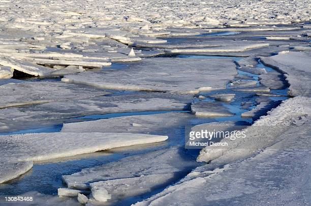Ice floes on the Baltic Sea off Stein, Probstei, Ploen district, Schleswig-Holstein, Germany, Europe