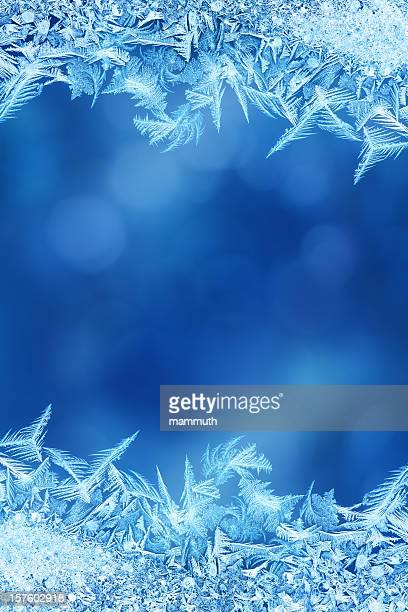 Ice flower frame on glass