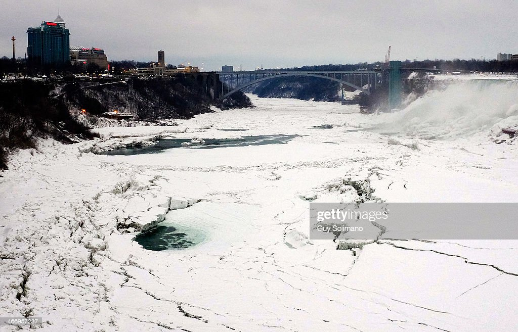 Ice forms on the Niagara River on February 5, 2014 in Niagara Falls, Canada. An additional foot of snow blanketed Western New York overnight in the latest winter storm system that has affected areas from Kansas to Maine..
