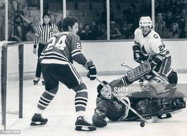 Ice Hockey Colorado Rockies Rockies Andy Spruce gives Goalie Tony Esposito #24 Doug Wilson a run for their Money Rockies fail to get Goal Colorado...