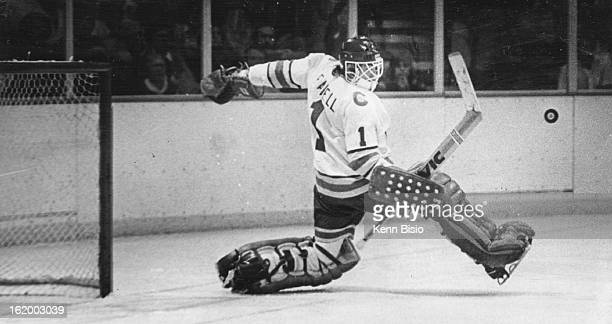 NOV 16 1977 NOV 17 1977 Ice Hockey Colorado Rockies Doug Favell Denver Rockies' Goaltender Makes Save Against Montreal Canadiens broke scoreless tie...