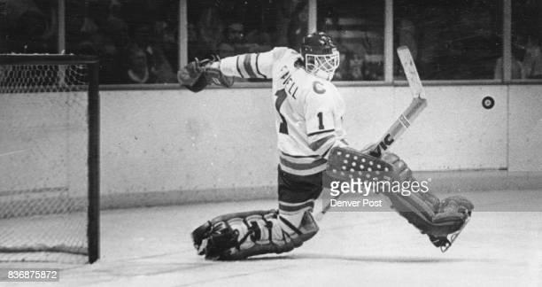 Ice Hockey Colorado Rockies Doug Favell Denver Rockies' Goaltender Makes Save Against Montreal Canadiens broke scoreless tie in second period before...