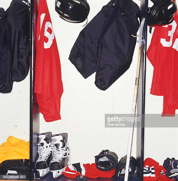 Ice hockey gear in team changing room