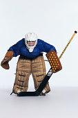 Ice hockey goalie in stance