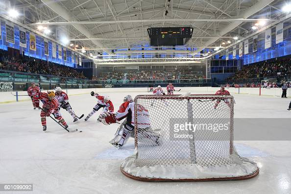 Ice Hockey match MontBlanc vs La RochesurYon SaintGervaislesBains France