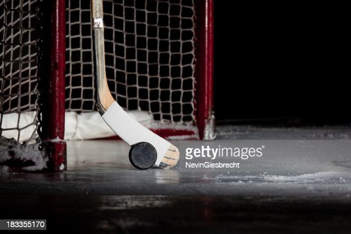 'Ice Hockey Net, Puck, and Stick'