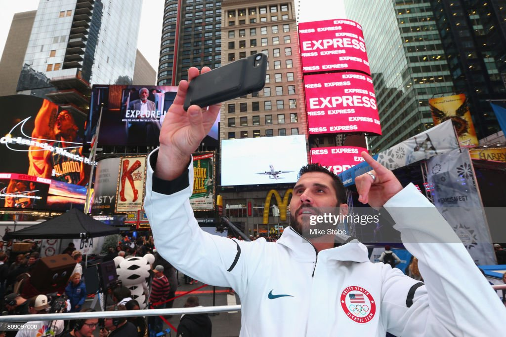 Ice hockey player Brian Gionta attends the 100 Days Out 2018 PyeongChang Winter Olympics Celebration - Team USA in Times Square on November 1, 2017 in New York City.