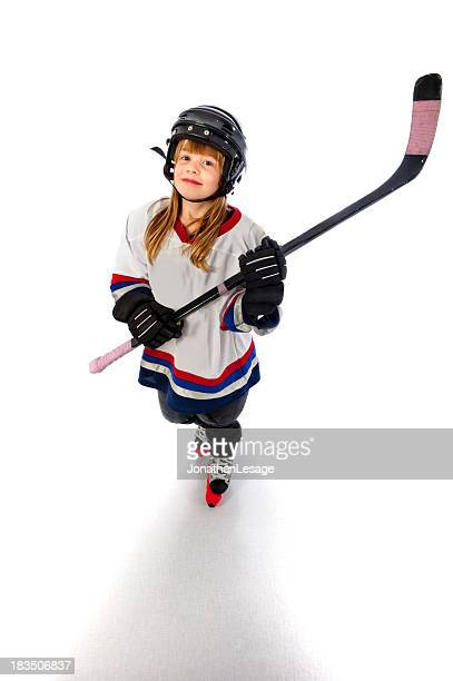 ice hockey player girl happy winner children
