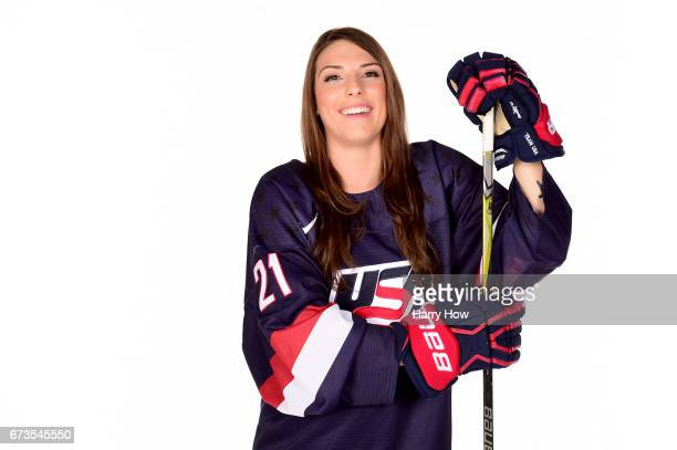 Ice hockey player Hilary Knight poses for a portrait during the Team USA PyeongChang 2018 Winter Olympics portraits on April 26 2017 in West...