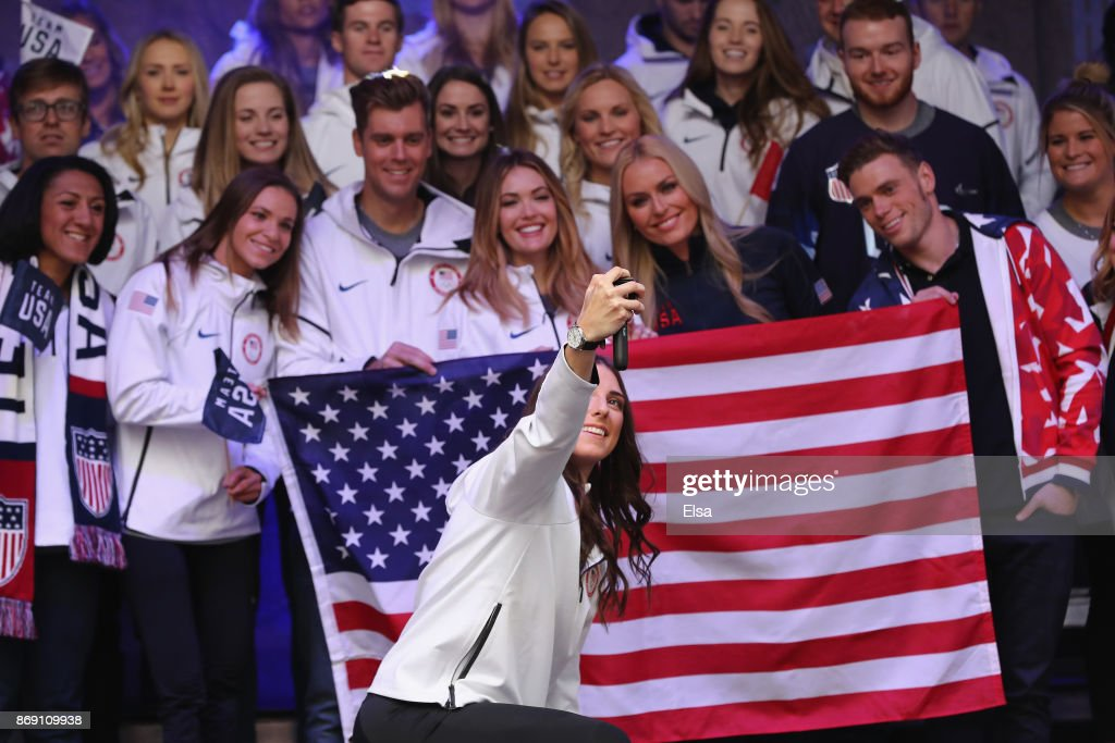 Ice hockey player Hilary Knight poses for a Team USA selfie during the 100 Days Out 2018 PyeongChang Winter Olympics Celebration in Times Square on November 1, 2017 in New York City.