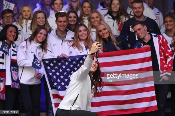 Ice hockey player Hilary Knight poses for a Team USA selfie during the 100 Days Out 2018 PyeongChang Winter Olympics Celebration in Times Square on...