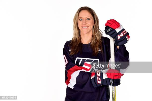 Ice hockey player Meghan Duggan poses for a portrait during the Team USA PyeongChang 2018 Winter Olympics portraits on April 26 2017 in West...