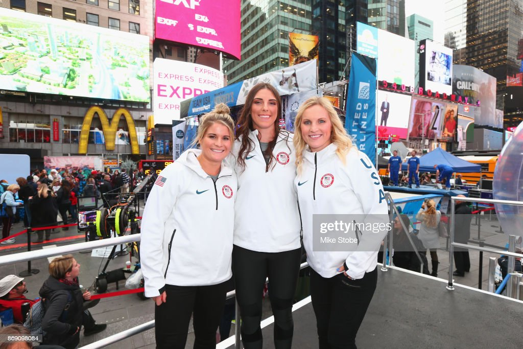 Ice hockey players Brianna Decker, Hilary Knight and Jocelyne Lamoureux-Davidson attend the 100 Days Out 2018 PyeongChang Winter Olympics Celebration - Team USA in Times Square on November 1, 2017 in New York City.