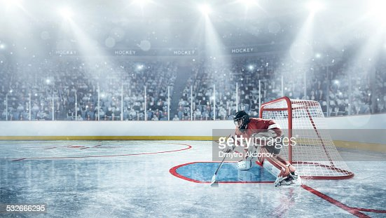 Ice hockey players in defence