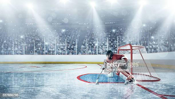 Jugadores en defensa de hockey sobre hielo