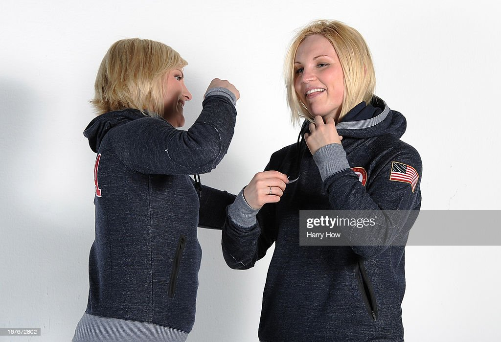 Ice hockey players Monique Lamoureux and Jocelyne Lamoureux pose for a portrait during the USOC Portrait Shoot on April 27, 2013 in West Hollywood, California.