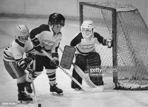 Ice Hockey Sixyearold Annie Malesko plays Goalie for a Highland Hills Junior League Team ***** one of three girls on the team that played a DU junior...