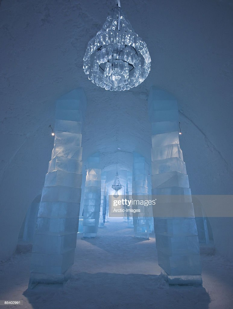 Ice Hotel entrance with Chandelier