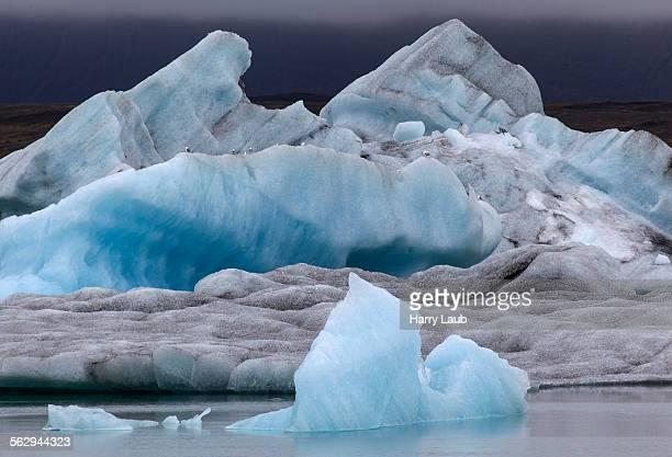 Ice, icebergs, Jokulsarlon glacial lake, lagoon, Iceland