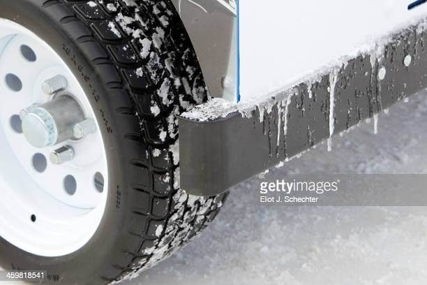 Ice is seen forming on the bumper of the Compact Ice Resurfacer prior to the 2014 Bridgestone NHL Winter Classic team practice session on December 31...