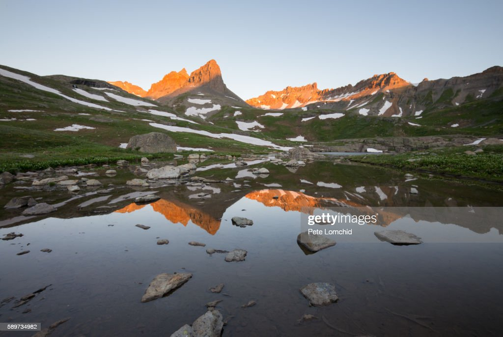 ice lake morning sunlit in Colorado