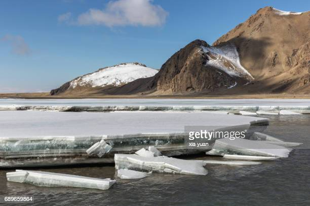 Ice layer melting with spring thaw,Bayanbulak,China