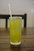 Ice matcha green tea good healthy drink in japanese restaurant.