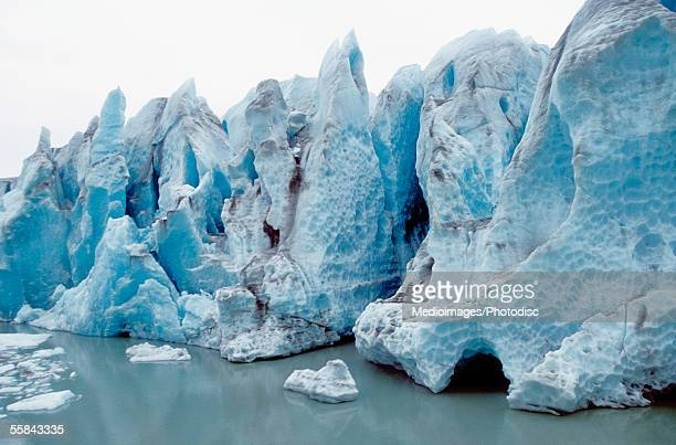 Ice melting on a jagged glacier, Skagway, Alaska, USA