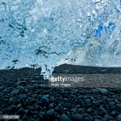 Ice melts on  beach, Jokulsarlon Glacial Lagoon : Stock Photo