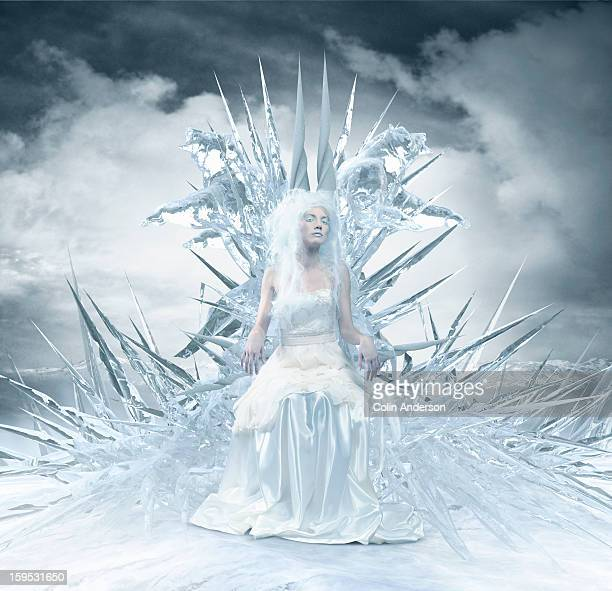 Ice Queen sitting on the throne in a  frozen realm