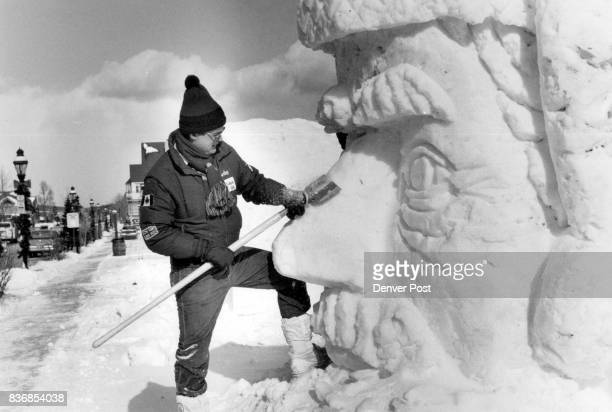 Ice Sculpture Gordon Taylor of Milwaukee works on a demonstration model during Snow Sculpting Comptition in Breckenridg Credit The Denver Post